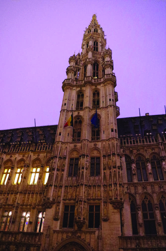 The Brussels Town Hall, the towering structure houses the national archives and royal library.