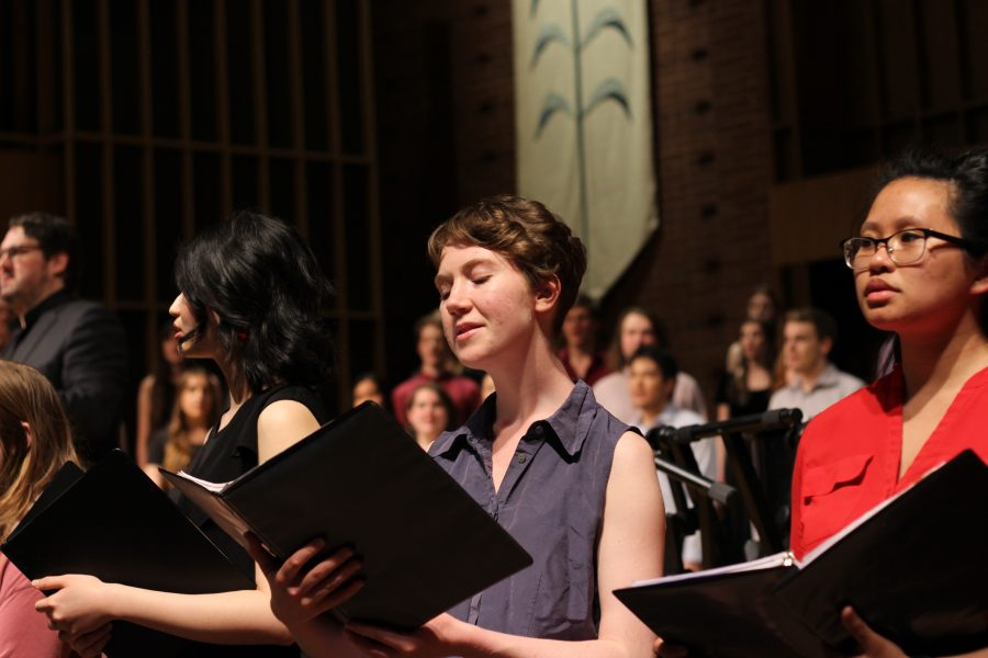 First Presbyterian filled with the sounds of the echoing voices from of the dedicated students in choir.  Jenna Rasmussen | The Falcon
