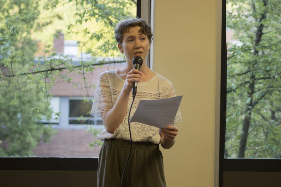 Olivia Heale, sophomore, performs her slam poetry piece.  Maileca Gontinas | The Falcon