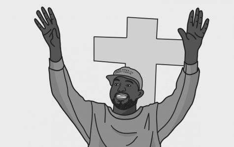 An illustration of Kanye West raising his hands in front of a cross
