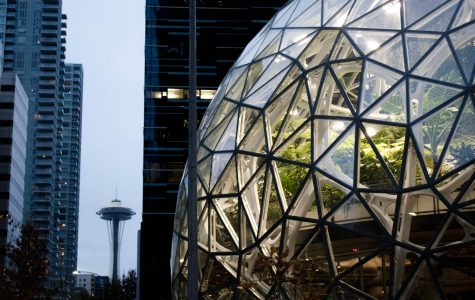 the amazon spheres are seen with the space needle in the background