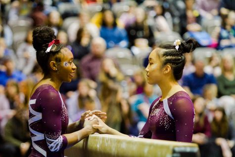 two gymnasts shake hands over a balance beam
