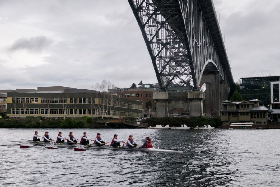 The+varsity+eight+crew+glides+under+the+Aurora+Bridge+on+Saturday+Feb.+15th+during+a+morning+practice.+The+Falcon+women+are+looking+for+more+success+after+their+fourth+place+finish+in+the+NCAA+Division+II+last+year.