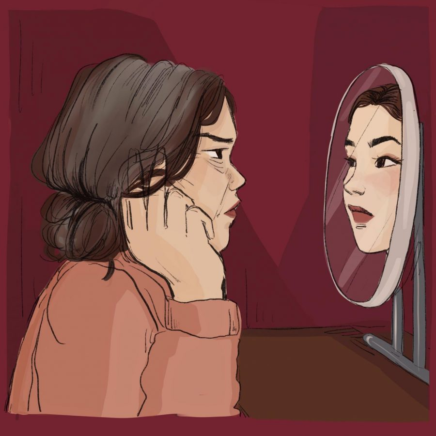 a older woman staring into a mirror at her younger self