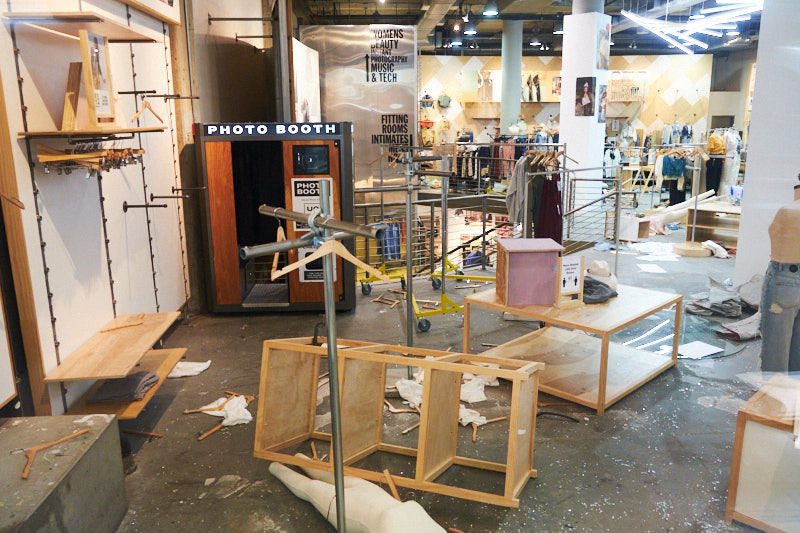 A looted and damaged store