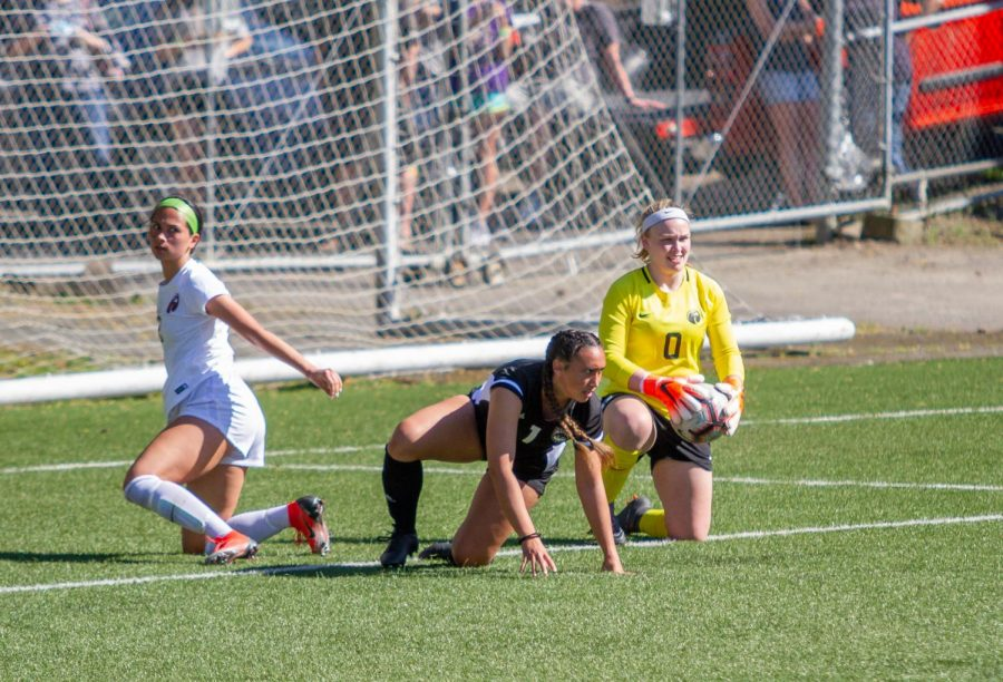 Goalkeeper Riley Travis and defender Madison Ibale keep Western Oregon from scoring during a game April 16th.